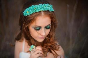 Delicate mysterious bride photo