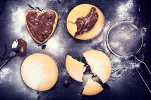 Cookies with melted chocolate photo
