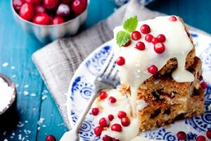 White chocolate cake, blondie, brownie with cranberry and coconut photo