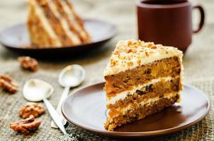 carrot cake with walnuts, prunes and dried apricots photo