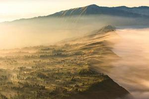 foggy village in Bromo,Surabaya,Indonesia photo