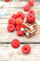 Fresh raspberries with chocolate cubes