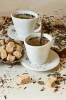 green tea in oriental style with brown sugar