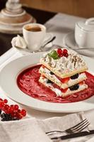 Appetizing french millefeuille dessert photo
