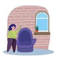 Woman next to a chair at home vector