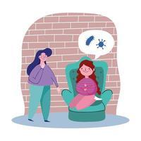 Girls at home talking about coronavirus vector