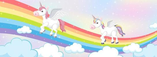 Unicorns on magic rainbow pastel background vector