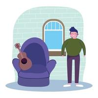 Young man with acoustic guitar at home vector