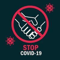 detener covid-19 con signo de pictograma
