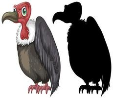 Vulture characters and its silhouette on white background vector
