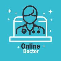 Online doctor banner with pictogram vector