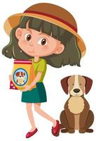 Girl holding dog food with cute dog