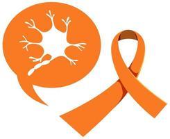 cinta naranja conciencia sobre la leucemia y la esclerosis múltiple