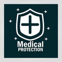 Banner de protección médica con pictograma de escudo.
