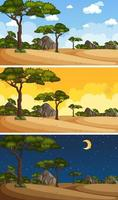 Nature landscape scenes at different times of day vector
