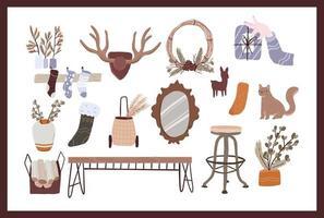 conjunto de elementos de dibujos animados lindo de navidad