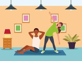 Couple practicing exercise at home vector