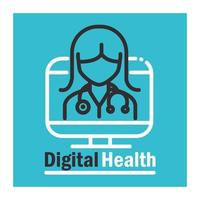 Digital health banner with pictogram