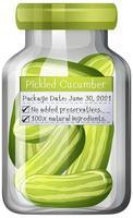 Pickled cucumber preserve in glass jar vector