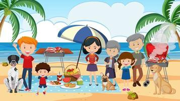 Picnic scene with family at the beach