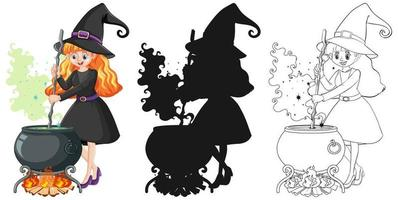 Witch in color, outline, and silhouette cartoon