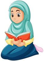 Arab Muslim girl in traditional clothing reading book vector