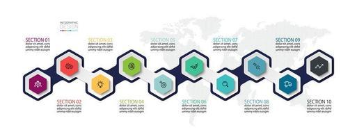 conjunto de ícones de infográfico de forma colorida hexagonal