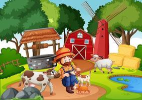 granja con granero rojo y molino de viento. vector
