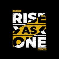 Rise as one black t-shirt design