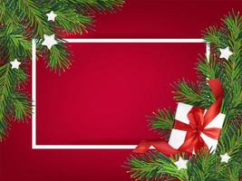 Merry Christmas red background frame vector