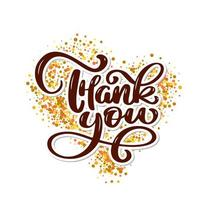 Thank you text on gold background vector