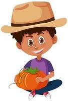 personaje de dibujos animados de niños sosteniendo vegetales vector