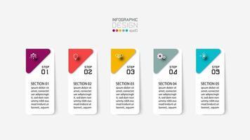 conjunto de pasos de etiqueta de infografía rectangular vertical vector