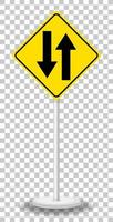 Yellow traffic warning sign