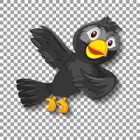 Cute black bird cartoon character