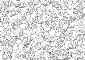 Hand drawn outline flowers vector