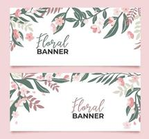 Collection of floral banners vector
