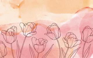flores sobre fondo de acuarela