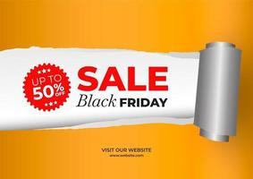 banner preto de venda sexta-feira com efeito de papel rasgado