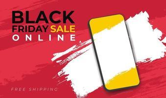 banner para venda na sexta-feira negra com smarthphone