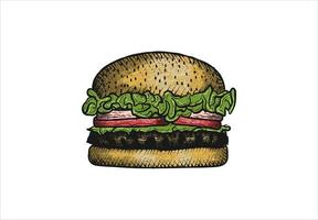 Hand drawn, rustic burger design