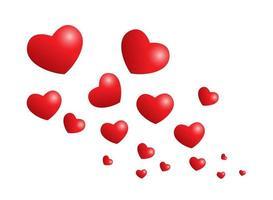 corazones rojos romanticos vector