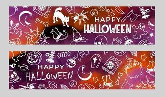 Set of Halloween banners with doodles vector