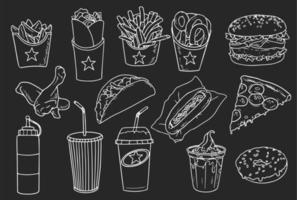 colección de elementos de comida rápida dibujados a mano vector