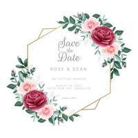 marco floral guardar la plantilla de invitación de fecha