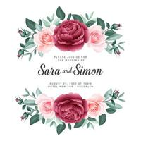 Roses Floral Banner Wedding Card Template vector