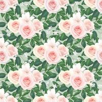 Floral Seamless Pattern of Blush Roses vector