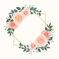marco geométrico de rosas rosadas suaves