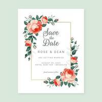 marco de boda de rosas inglesas vector