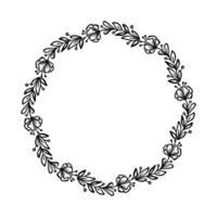 corona de marco de vector caligráfico redondo